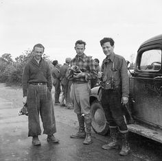 Jacques Lemare, Henri Cartier-Bresson and Herbert Kline during the filming of With the Lincoln Brigade during the Spanish Civil War.