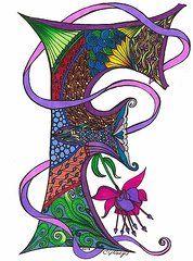 Zentangle Acrylic Prints and Zentangle Acrylic Art (Page of Flower Alphabet, Alphabet Art, Letter Art, Illuminated Letters, Art Pages, Acrylic Art, Line Drawing, Art For Sale, Zentangle