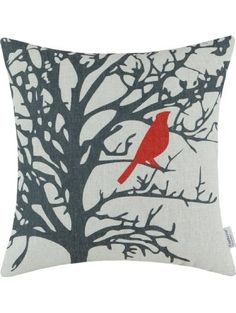 Euphoria CaliTime Throw Pillow Cover Vintage Birds Branches, 18 X 18 Inches, Red Black ❤ Qingdao Ray Trading Co., Ltd.