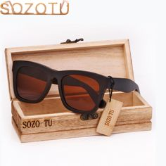 9de8645388 SOZOTU Wood Sunglasses Men Bamboo Polarized Sunglasses Black Square Driver  Fishing Sun Glasses HD Lens Womens
