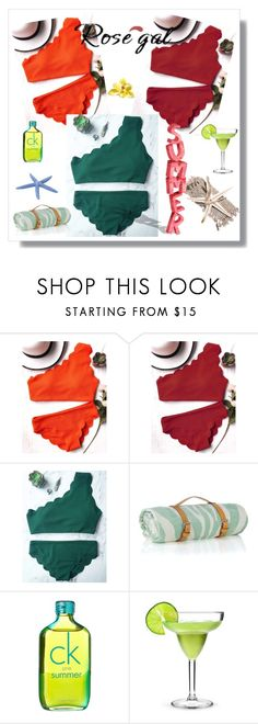 """""""One Shoulder Scalloped Bathing Suit"""" by nedim-848 ❤ liked on Polyvore featuring Maslin & Co. and Calvin Klein"""