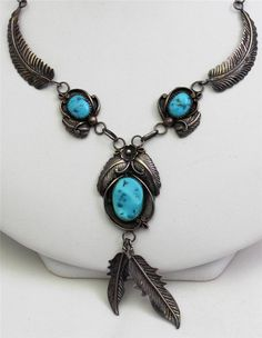 * Stunning Fannie Platero Navajo Feather Flower Turquoise Sterling Necklace