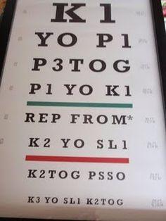 Knitting eye chart. So funny!