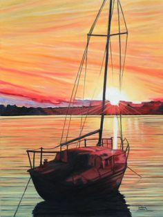 Sail Boat. Orange sunset.Print Giclee From Oil painting Art