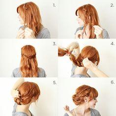 idée de coiffure femme avec un chignon et deux tresses