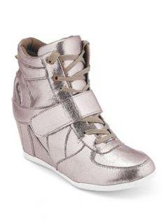 Metallic Foil Wedge Sneaker at Dots
