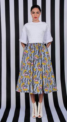 Plein Midi Skirt w / poches et jupe de bande élastique à la taille 1.5. CONTENU du tissu : 100 % coton cire dHollande    COULEURS :