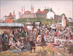 Medieval Market, Painting, Marketing, Art, Art Background, Painting Art, Kunst, Paintings, Gcse Art