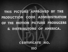 È il 31 marzo 1930, infatti, quando viene istituito il Codice Hays per la regolamentazione dell'etica del cinema. Per molti anni queste regole limitarono l'opera dei registi statunitensi per quanto riguarda svariati argomenti: dalle scene di nudo a quelle di omicidio, passando per il divieto assoluto di inserire scene di consumo di droga o alcolici.