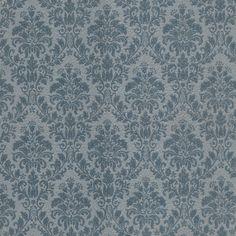 Blue Damask Vintage Wallpaper