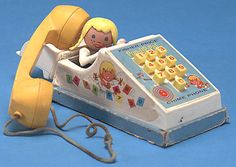 Pop up Pal Chime Phone made from Fisher Price 1968-1978.  I had so many conversations on this thing.