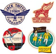 Vintage roller skating advertisements.  More at the source location, too.