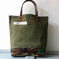 40's US ARMY Duffle Bag remake tote bag with leather handle W43cm H36cm D14cm Handle41cm IND_BNP_0090_US ARMY