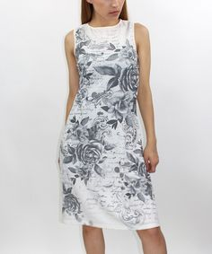Take a look at this Casa Lee White & Light Gray Floral Shift Dress today!