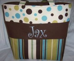 Again, love the stripes and polka-dots!  Oh, and the monogramming too!