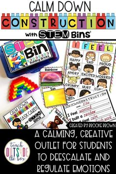 Calm Down Construction with STEM Bins is a simple, hands-on center that allows students to deescalate or calm down when they feel angry, fearful, sad, frustrated, or in need of a mental break. For so many of our spatial and kinesthetic learners, building and manipulating objects is a calming and satisfying exercise.