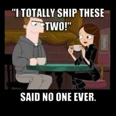 Vanessa Doofenshmirtz and Monty Monogram from Phineas and Ferb. He's a cutie, but...Ferbessa FTW.