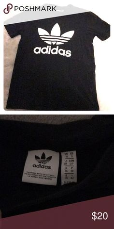 b5f5fcea0a6 Black adidas women s shirt Black shirt with adidas logo. Worn once. No  flaws basically new. Just too small for me adidas Tops Tees - Short Sleeve
