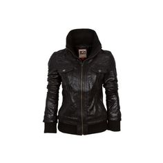 IL2L Women's Leather Bomber Jacket with a Deep Knitted Collar (2.810 CZK) found on Polyvore