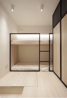 minimalist modern architecture, minimalist apartment design - My CMS Interior Minimalista, Minimalist Apartment, Modern Minimalist, Minimalist Bedroom, Minimalist Decor, Modern Bedroom, Built In Bunks, Modern Bunk Beds, Cool Bunk Beds
