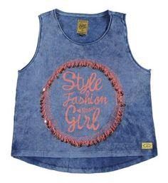 Retour Jeans topje / singlet met een print aan de voorzijde, model Sadie 239 - Blauw - NummerZestien.eu