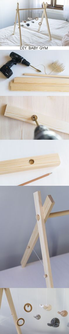 DIY wooden baby gym- this looks so cute! Can you imagine a little one playing around on the frame. Totally adorable.