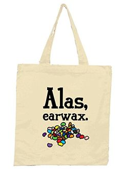 Canvas Reusable Tote Bag Alas Earwax Geek Details http://www.amazon.com/dp/B00OHZCOEY/ref=cm_sw_r_pi_dp_2Qwpub0ZQZCJN