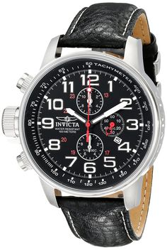 Invicta Men's 2770 Force Collection Stainless Steel Left-Handed Watch With Black-Leather Strap.  Bringing you the best luxury watches online at the most affordable prices for premium brand name watches: http://www.bestwatches1st.com/#!invicta-force-watch-collection/owrjm