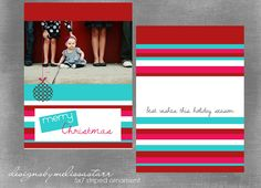 PSD Christmas Card Photoshop Photo Template - Striped Ornament. $4.99, via Etsy.