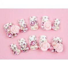 Japanese Nails Pink Hime, crystal nails, pink rose nails