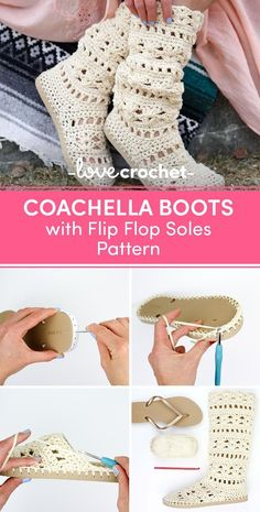 Coachella Boots with Flip Flop Soles Crochet pattern by Jess Coppom Make & Do Crew - This lacy cotton crochet boots pattern will complete your boho-inspired outfits all spring and summ - Crochet Boots Pattern, Crochet Slipper Boots, Crochet Baby Boots, Crochet Sandals, Shoe Pattern, Crochet Slippers, Crochet Clothes, Crochet Patterns, Tongs Crochet