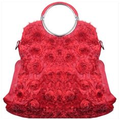 Flowers Metal Handle Satchel Red flowers vegan leather material handbag. Silver dual carry handle, closing zipper, silver tone hardware. Comes with adjustable shoulder strap. Note: second picture shows a minuscule imperfection on the back behind zipper. Approx size 10L x 9H x 3W. Bags Satchels