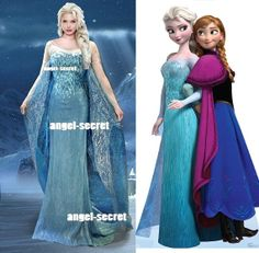 $280, big gems, fancy cape: J727 Movies Frozen Snow Queen Elsa Cosplay Costume Deluxe palace level Dress tailor made adult and teenager wedding theatre