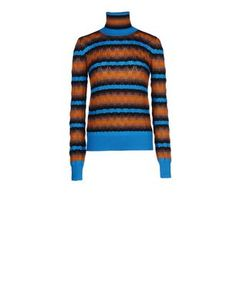 Knit turtleneck in ajour stitch with stripes and contrasting color blocking.