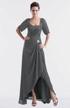 Grey Modest Sweetheart Short Sleeve Zip up Floor Length Plus Size Bridesmaid Dresses