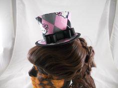 Victorian Steampunk Lolita Tiny Top Hat - Hello Kitty argyle pink grey gray