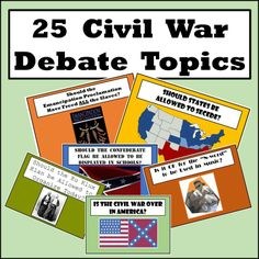 Your students will have a formal debate on issues that were either part of the Civil War, led up to the Civil War, or exist today but stem from the Civil War.  This week-long activity is bound to ramp up your classroom discussions.  I have done this type of activity for 15 years and look forward to it every time it comes around.
