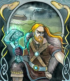 Thor, Norse god of thunder, son of Odin and Jord. Had a famous weapon, his hammer, named Mjolnir, a belt of strength, named Megingjardir, and a goat-driven chariot that created the noise of the thunder when rolling across the sky.
