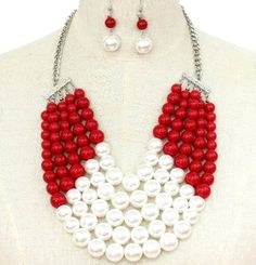 Chunky 5 Row Red White Pearl Necklace Set Elegant Jewelry