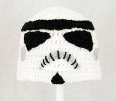 Storm Trooper Hat from Star Wars, Black and White Crochet Beanie, send size choice baby - adult. $25.00, via Etsy.