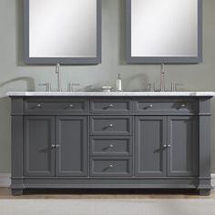 Darby Home Co Riccardo Double Bathroom Vanity Set Base Finish: Gray Home Design, Interior Design, Armoire, Primitive Bathrooms, Single Bathroom Vanity, Master Bathroom, Bathroom Vanities, Sinks, Silver Bathroom
