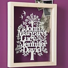 Personalised Family Tree Papercut - such an original idea.