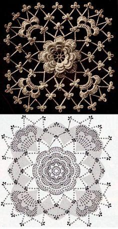 Filet Crochet, Crochet Motifs, Crochet Diagram, Crochet Squares, Crochet Doilies, Crochet Flowers, Crochet Diy, Crochet Leaves, Crochet Tablecloth