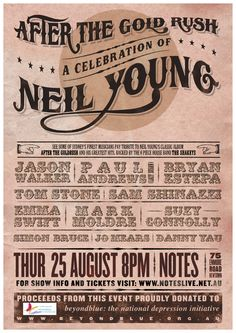 Neil Young concert posters | ... music of Neil Young and raise some money for the beyondblue charity