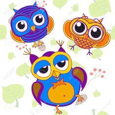 Owl, Bird, Pink, Tree, Animal, Leaf, Drawing, Illustration, Color ...