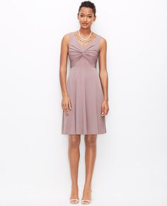 Satin Jersey Twist Dress   Ann Taylor
