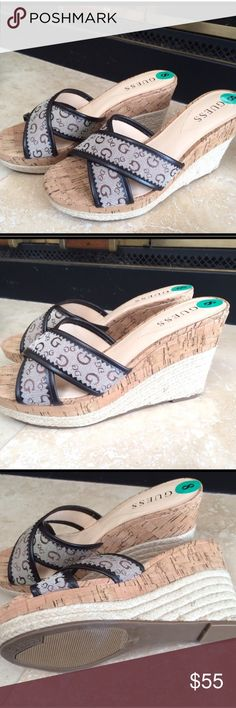 GUESS PLATFORM WEDGE SLIDE SANDALS New..shoes Guess Shoes