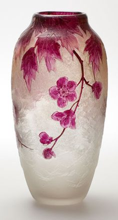 Legras Acid Etched Cameo and enamel vase
