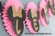 Minnie Mouse Birthday Banner /  Pink Gold and Black Banner by MarianelasCrafts on Etsy https://www.etsy.com/listing/239332110/minnie-mouse-birthday-banner-pink-gold
