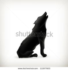 Wolf silhouette, vector - stock vector
